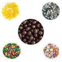 Fruit slices, Candy Rocks, Espresso beans, sunflower seeds