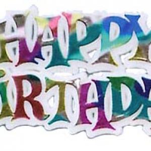 Happy Birthday Script 2 1/2″ 72 CT