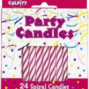 Spiral Candle Pink 2 1/2″ 24 PCS 12 CT