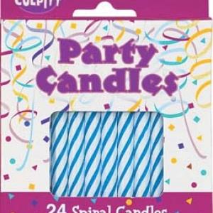 Spiral Candles Blue 2 1/2″ 24 PCS 12 CT