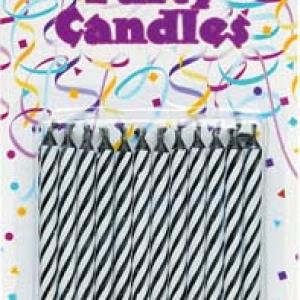 Spiral Candles Black 24 PCS 12 CT