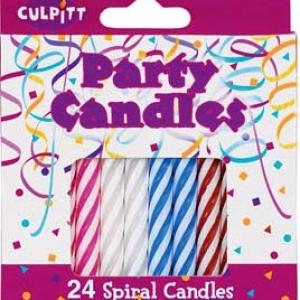 Spiral Candle Multi Color 24 PCS 12 CT