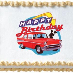 50's Hot Rod Birthday 6.5″ Edible Image 12 CT