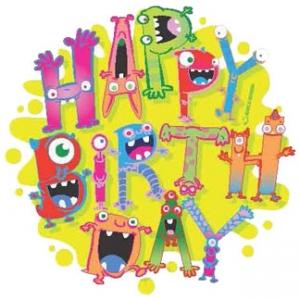 Monster Birthday 6.25″ Edible Image 12 CT