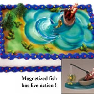 Fisherman w/Action Fish DecoSet 6 CT