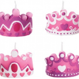 Princess Crown Candles 2″ 4 styles