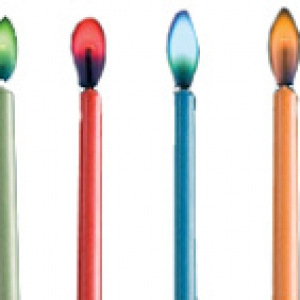 Candles W/Colored Flames 2″ 12 CT