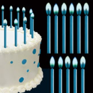 Candles W/Blue Flames 2″ 12 CT