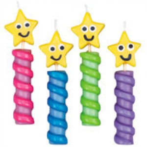 Stars Chunky Candles 3 1/4″ 4 CT