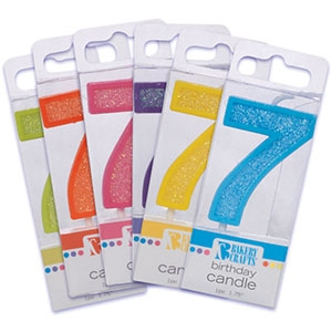 Mini Glitter #7 Candle Assorted Color 12 CT