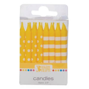 Dots & Stripes Candles Yellow  12 CT