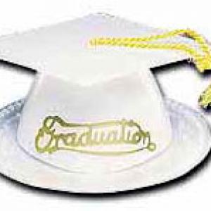 Graduation Hats White 3 1/2″ 12 CT