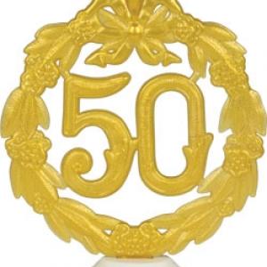 50th Anniversary Gold Wreath w/base 5.5″ 12 CT