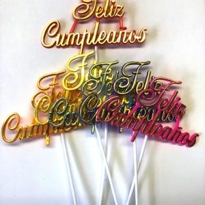 Feliz Cumpleanos Picks 6 colors 6″ x 4″ 24 CT
