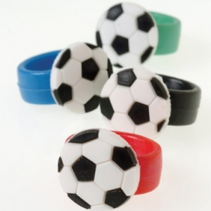 Soccer Rubber Assorted Rings 12 CT